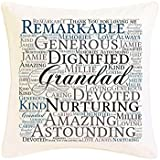 Personalised Grandad Word Art Faux Silk Cushion Gift. Birthday Christmas Fathers Day Thank You. Personalised details required. by Pure Essence Greetings