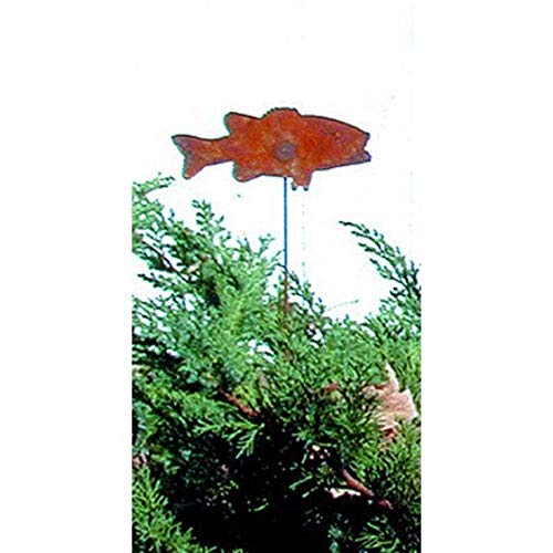 - Village Wrought Iron Fish - Rusted Garden Stake