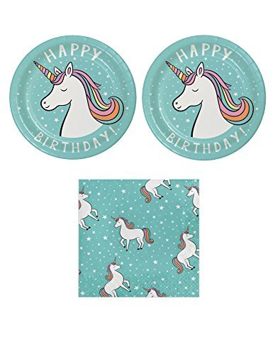 Unicorn Birthday Party Bundle for 20 Guests: 2 Items- Unicorn Plates and Napkins -