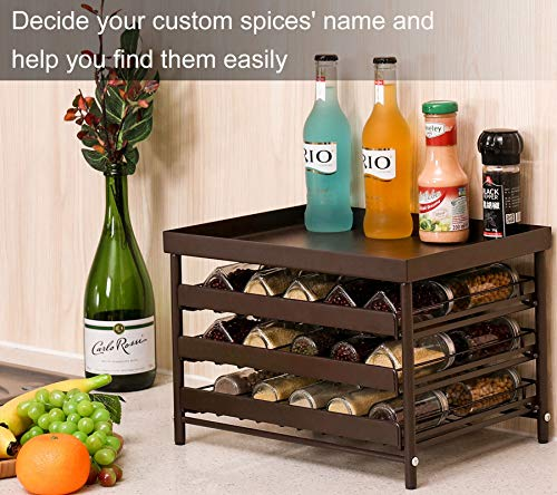 TQVAI Stackable 30 Jars 3-Tier Spice Rack Organizer with Pull Out Drawers and Labels - Fit for Countertop, Cabinet, Pantry - Frosted Brown