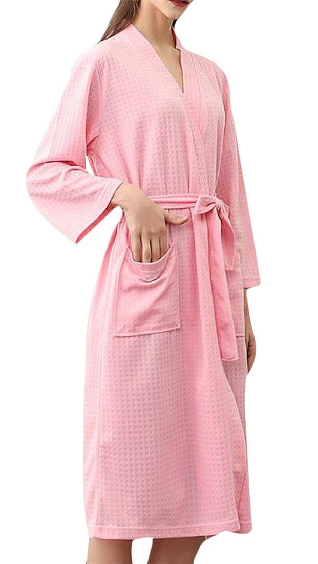 JSY Womens 3/4 Sleeve Breathable Robe Waffle Kimono Homewear Bathrobes