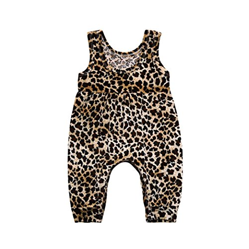 Jarsh Infant Baby Girls Jumpsuit, Leopard Print Sleeveless Romper Summer Clothes Outfit Costume (18M(12-18Month)) ()