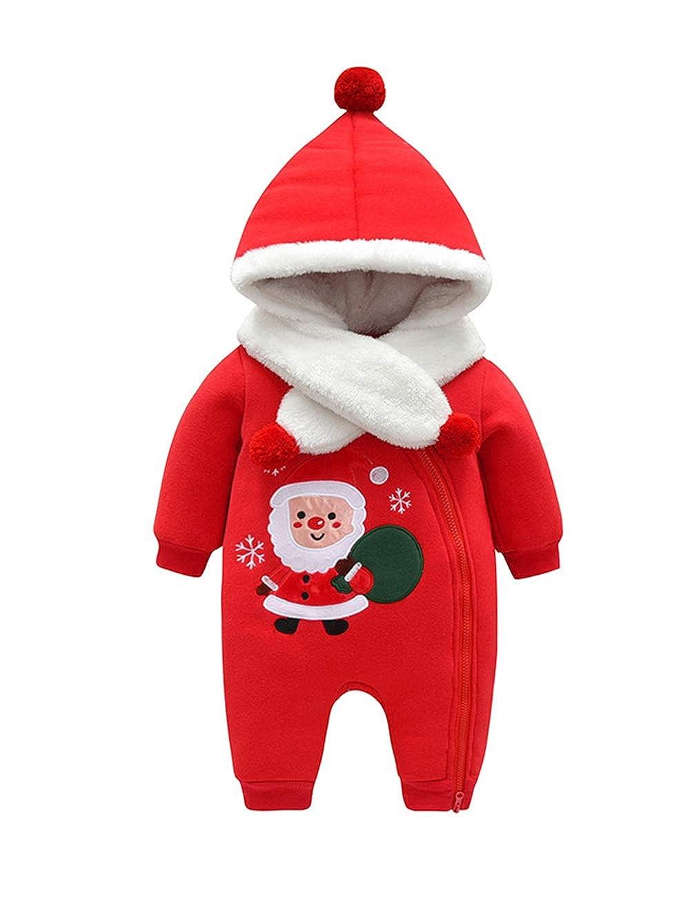 BESBOMIG Weihnachten Outfits Spielanzug Mantel + Strampler Winter Overall - Neugeborenes Sä ugling Baby Reiß verschluss Mit Kapuze Warm Kleider