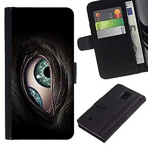 Billetera de Cuero Caso Titular de la tarjeta Carcasa Funda para Samsung Galaxy Note 4 SM-N910 / The Cyborg Eye / STRONG
