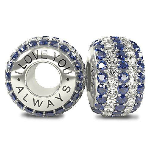 The Royal Collection - I Love You Always Sterling Silver 925 Plated Austrian Sapphire Crystals Pave Bead Charm - Compatible with Pandora Bracelet and Any Similar 3mm Bracelets