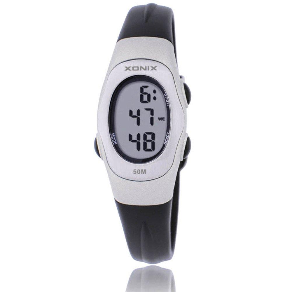Children's multi-function digital electronic watch,Jelly 50 m waterproof resin alarm stopwatch girls or boys small simple fashion retro wristwatch-E