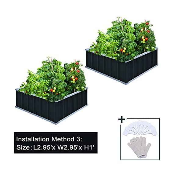 "KING BIRD Extra-Thick 2-Ply Reinforced Card Frame Raised Garden Bed Galvanized Steel Metal Planter Kit Box Green 68""x 36""x 12"" with 8pcs T-Types Tag & 1 Pair of Gloves, 17 Cu. Ft. 4 【TWO YEARS WARRANTY】Update the newest assembly video in April. Show more details about installment, stability and convenience. The most wonderful design of our KING BIRD raised garden bed is not only about the convenient and fast installation without tools, also for its smart design to vastly increase the loading ability and capacity. TWO YEARS WARRANTY and 100% satisfaction After-service are provided, please contact us directly if any questions or doubts. 【Extra-thick 2-Ply Reinforcement】 Double card frames on the two sides of sheet make the garden bed more durably and stably; never worry about its distorted or collapsed and it presents much more beautiful design. 【Multilayer Galvanized Paint】 Upgraded multilayer galvanized paint efficiently prevents rust and continues to beauty; also never worry about that pest and rain damage the wood garden bed; galvanized steel garden bed provides a lasting use and no discoloration. No painting inside, no worries about the damage for plants."