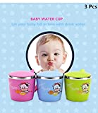 SUPZY [DOUBLE WALL] [stainless Steel + Plastic] Mug cup with Lid and Handle, Non-breakable Design for children (2-6Years old)100% Eco And Environmentally Safe ,SIZE:S (3 pcs))