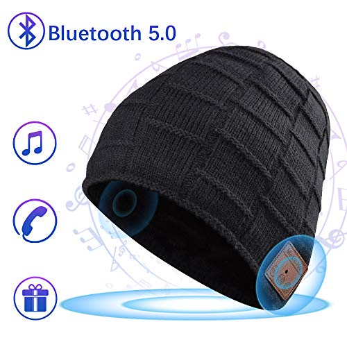 Bluetooth Beanie, Mens Gifts, Bluetooth Hat, Women Mens Beanie Hats with Bluetooth 5.0 Headphones, Fits for Outdoor Sports, Skiing ,Running, Skating, Walking, Christmas Birthday Gifts for Men Women