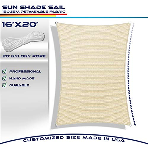 Windscreen4less 16' x 20' Sun Shade Sail Rectangle Canopy in Begie with Commercial Grade (3 Year Warranty) Customized Sizes Available (Shades Sun Patio Arizona)