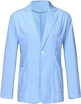 Blazer Hombre Slim Fit Lounge Suit Mezcla De Algodón Sólido Manga ...