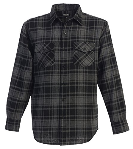 Gioberti Men's Flannel Shirt, Charcoal/Black, Size Medium