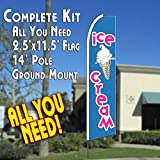 Cheap ICE CREAM (Blue/Pink) Flutter Feather Banner Flag Kit (Flag, Pole, & Ground Mt)