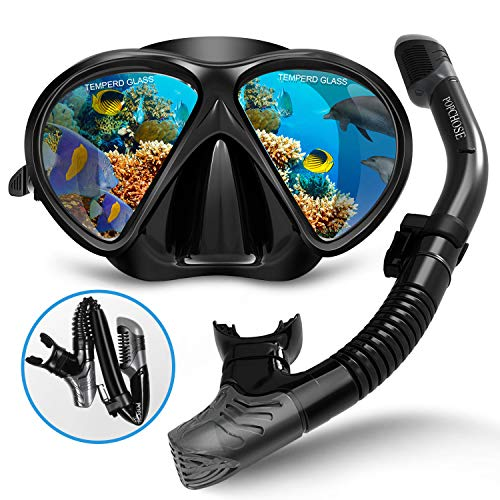 POPCHOSE Snorkel Set, Silicone Snorkeling mask Set for Adults and Youth, Foldable Snorkel Anti-Fog Anti-Leak Adjustable Diving Mask Gear Mesh Bag for Snorkeling, Diving, Swimming