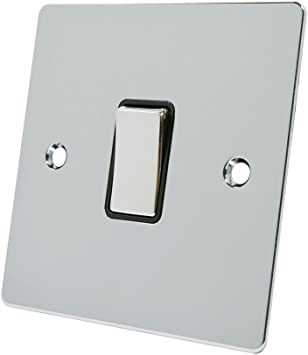 Square Black Insert Metal Rocker Switch 10A Intermediate Switch 1 Gang Satin Matt Chrome