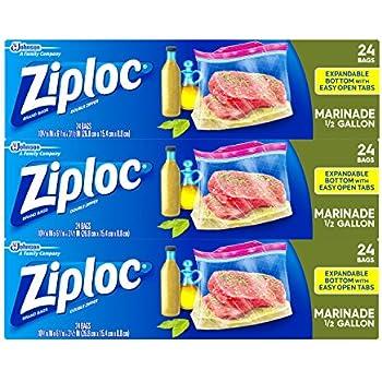 Amazon Com Ziploc 1 2 Gallon All Purpose Marinade Bag 72