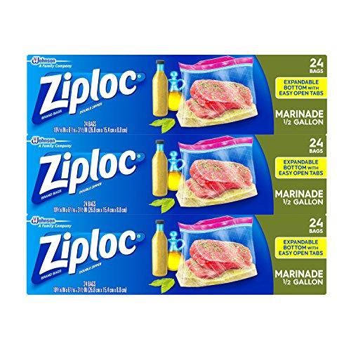 Ziploc All Purpose Marinade Bags, 3 Pack, 24 - Half Bags Gallon