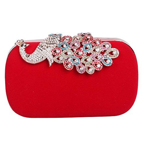 Fawziya Velvet Clutch Purse Rhinestones Peacock Clutch Evening Bag-Red by Fawziya