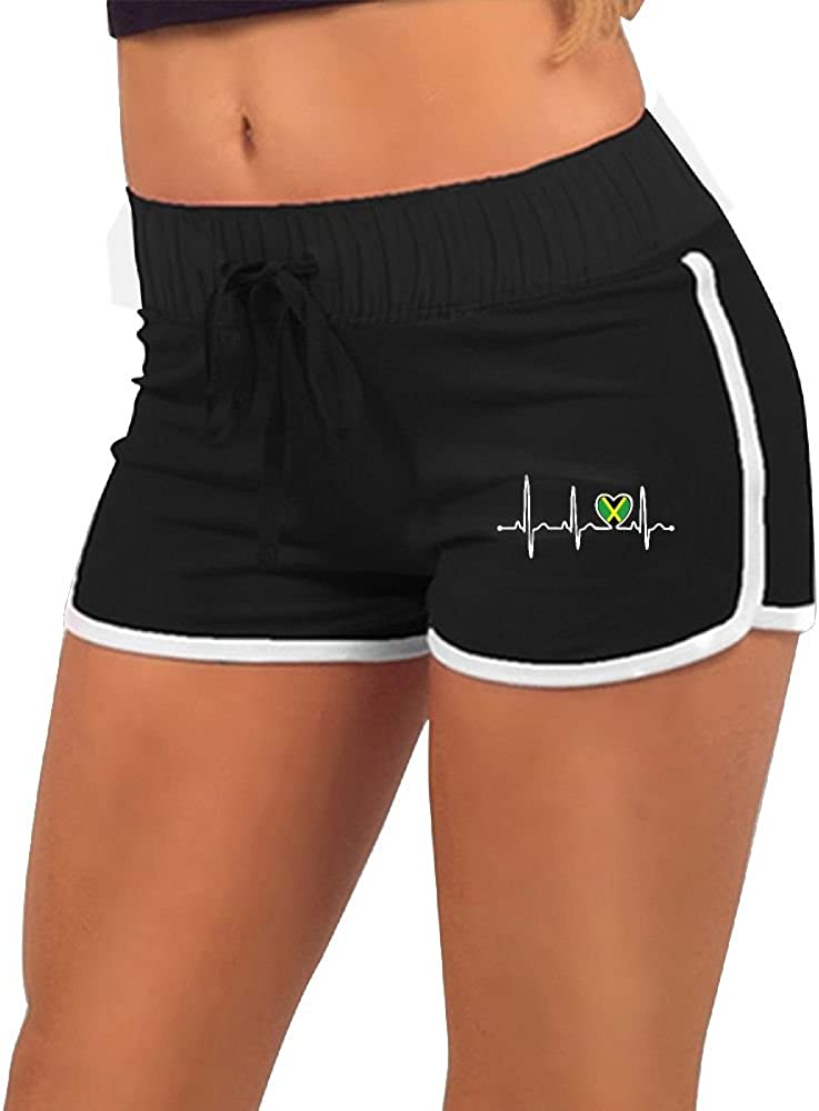 Pantsing Jamaica Country Flag Heartbeat Pride Womens Sports Running Workout Dolphin Shorts