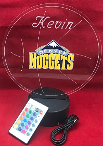 Denver Beautiful Handmade Acrylic Personalized Nuggets NBA Basketball Light Up Light Lamp LED Lamp, Our Newest Feature - It's WOW, Comes With Remote,16 Color Options, Dimmer, Free Engraved, Great Gift