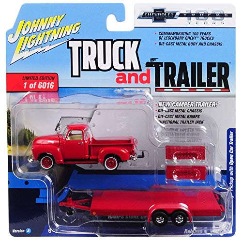"""1950 Chevrolet Pickup Truck Gloss Red with Open Car Trailer Ltd Ed to 6,016 pieces""""Truck and Trailer"""" Series 2""""Chevrolet Trucks 100th Anniversary"""" 1/64 Diecast Model Car by Johnny Lightning JLSP018"""