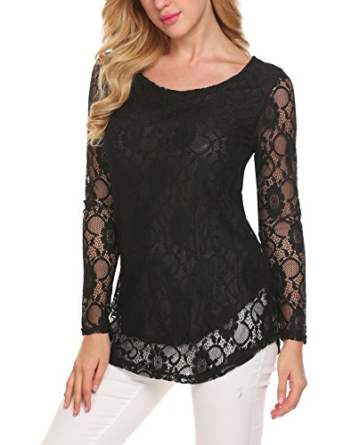 - SoTeer Women's Lace Blouses Long Sleeve Sexy Peasant Sheer Hollow Tops Tee Shirts Black S