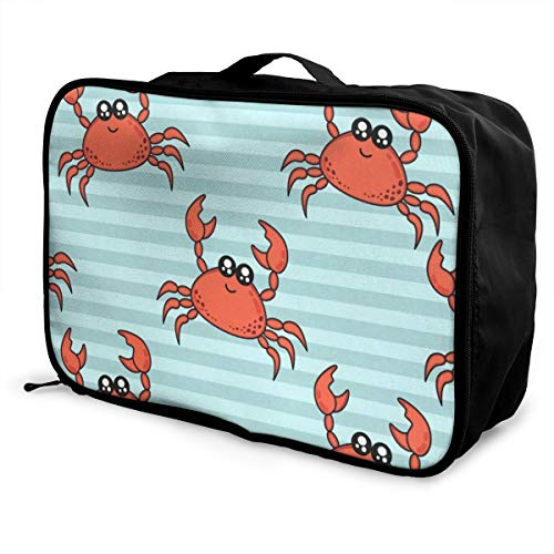 Travel Bags Cute Crabs Portable Suitcase Trolley Handle Luggage Bag