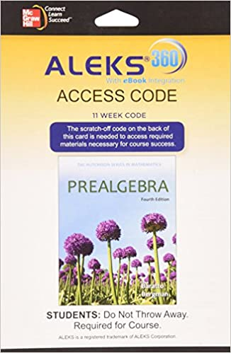 Aleks 360 access card 11 weeks for prealgebra stefan baratto aleks 360 access card 11 weeks for prealgebra 4th edition fandeluxe Gallery