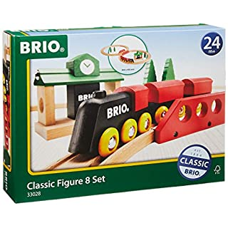 BRIO World 33028 - Classic Figure 8 Set - 22 Piece Wood Toy Train Set with Accessories and Wooden Tracks for Kids Age 2 and Up