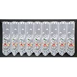 Rideaux brise-bise Vaches et alpins Berger coloré imprimé 60 cm de haut | La largeur est réglable en fonction du nombre de pièces en pas de 38 cm. | Couleur: Blanc