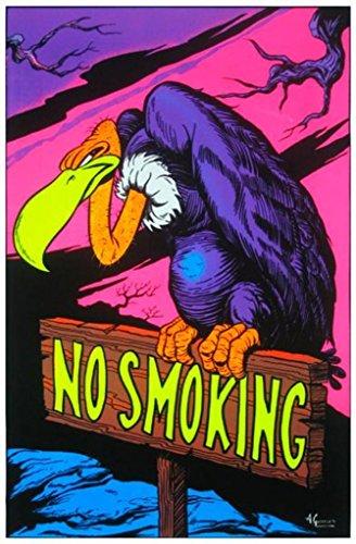 Blacklight Poster Print - No Smoking Vulture Blacklight Poster Print - 24x36 Blacklight Poster Print, 23x35