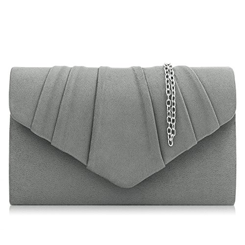 Milisente Women Clutches Velvet Pleated Evening Bag Evenlope Clutch Purse (Gray) by Milisente