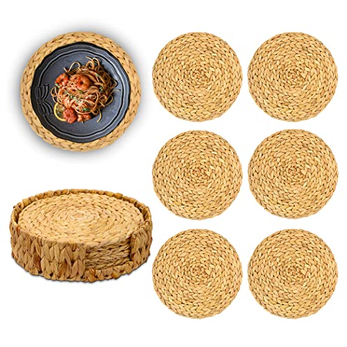"""Woven Placemats for Dinner Table Set of 6 Circle Wicker Tablemats Handmade Rustic Boho Heat Resistant Placemats with Decorative Round Holder Set for Thanksgiving Xmas Decoration 11.8"""""""