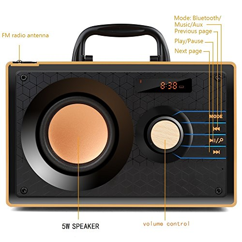 Desktop Wooden Bluetooth Speaker 10w Powerful Wireless Stereo Subwoofer Loudspeakers Music Player Support Digital Display Remote Control FM Radio TF Card USB AUX Speakers for Home Party for Phone by TOMPROAD (Image #5)