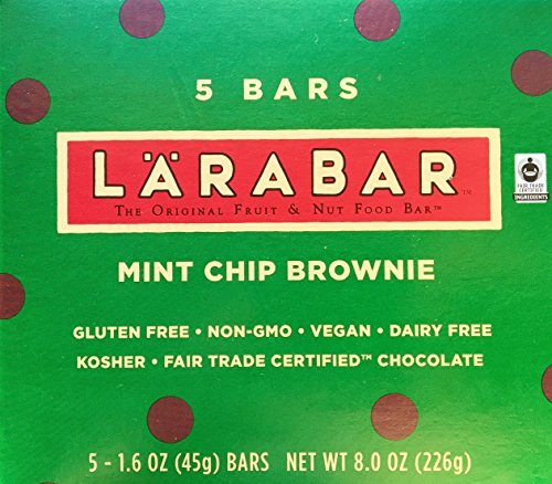 LARABAR Mint Chip Brownie, Fruit & Nut Food Bar, 5 Count - 1.6 Ounce Bars in Retail Packaging: Gluten Free, Non-GMO, Vegan, Dairy Free, Kosher, Fair Trade Certified - Certified Reseller