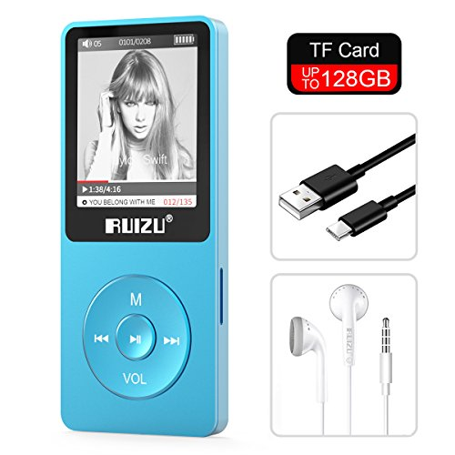 """RUIZU X02 8GB MP3 Player Classic Style with FM Radio, Voice Recorder, E-Book, Video Play, Ultra Slim Music Player with 1.8"""" Screen, Support up to 128GB Micro SD Card, Blue"""