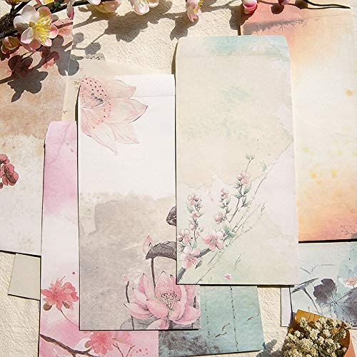 FANGDAHAI Briefpapier/Supplies Chinese Classical Style Envelope Printed Cute Ink Wash Painting Vintage Message Card Letter Stationary Storage Paper Gift