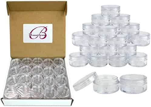 (Quantity: 100 Pieces) Beauticom 10G/10ML Clear Lid Plastic Cosmetic Lip Balm Lip Gloss Cream Lotion Eyeshadow Container Jars