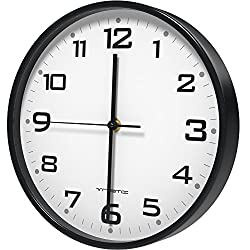 Vremi 10 inch Silent Universal Round Wall Clock - AA Battery Operated Easy to Install Non Ticking Indoor Decorative Easy Read - Colorful Analog Clock Great for Home Office Classroom or Garage - Black