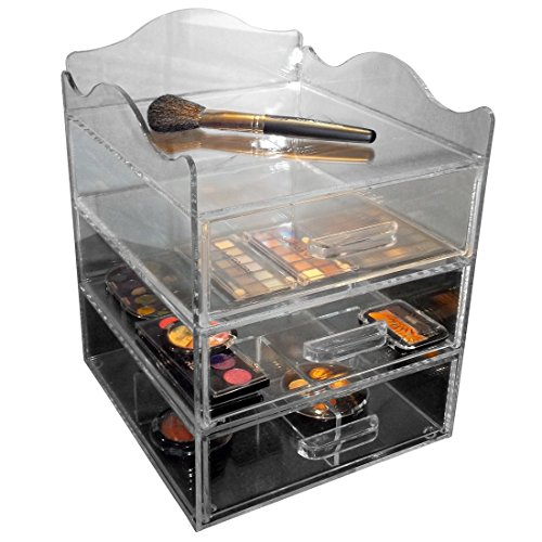 Clear Acrylic Makeup Cosmetic Organizer, 9.5 W x10 D x 13 H, 3 Drawers with a Pretty Curved Edge on Top with Space for Storing Taller Items. Made in the USA by PPM.