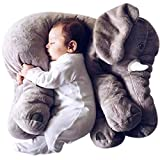 Skylofts Soft Stuffed Animal Elephant Short Plush Doll Cotton Cushion Pillow Cover Toy (Grey)