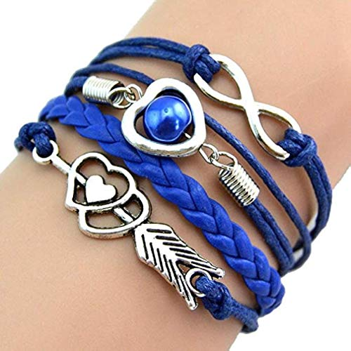 Clearance Sale! Noopvan Women Leather Bracelets Love Hearts Pearl Infinity Multilayer Charm Leather Bracelets Gift (Sapphire)