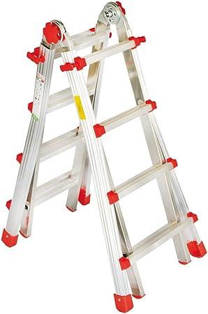 Escalera de aluminio multiusos con peldaños de 6 + 6 metros, 6,30 m de largo y de cepo profesional: Amazon.es: Bricolaje y herramientas