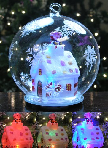 LED Glass Globe Christmas Ornament Santa Claus in Chimney of Lit Cottage House with Hand Painted Snowflakes Color Changing Lights Collectible -