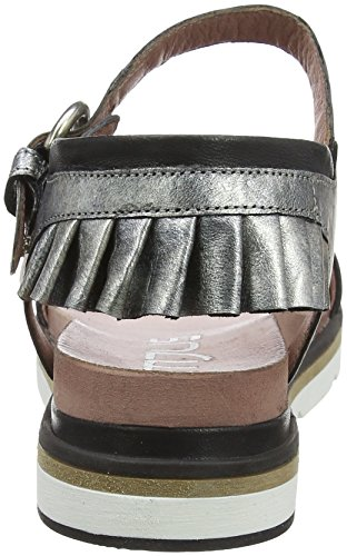 Mjus 809003-0301-0001, Sandalia con Pulsera Para Mujer Schwarz (Nero+Argento)