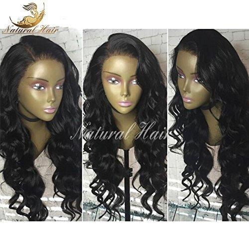 Glueless 100% Brazilian Remy Human Hair Loose Wave Lace Frontal Wig Pre Plucked Bleached Knots 130% Density Lace Front Wigs For Black Women Full lace Wigs with Baby Hair (20 inch, lace frontal wig)