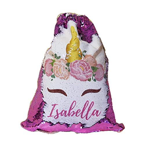 (BlueVStudio | Personalized Unicorn with Peony Flowers Reversible Sequin Drawstring Backpack | Sequin Drawstring Backpack | Unicorn Backpack)
