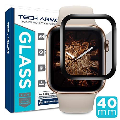 Tech Armor 3D Curved Edge Glass Screen Protector Designed for Apple Watch Series 4 40mm (Black) [1-Pack]