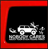 Stick Figure sticker for Jeep Family Nobody Cares funny truck white decal bumper stickedr