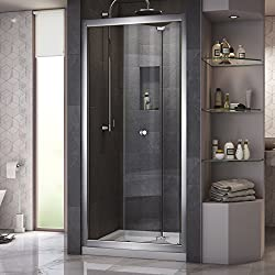DreamLine Butterfly 32 in. D x 32 in. W Sliding Bi-Fold Shower Door in Chrome with Center Drain White Acrylic Base Kit, DL-6213C-01CL